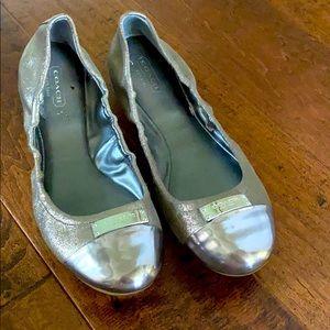 Sparkle Metallic Coach ballet flats